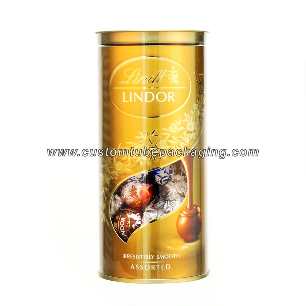 Transparent plastic tube packaging for chocolate candy Golden lid plastic tube packaging for chocolate
