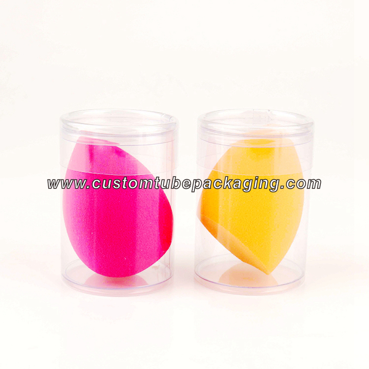 Custom Clear PVC Plastic Cylinder Packaging Tube Box For Beauty Makeup Sponge beauty sponge packaging
