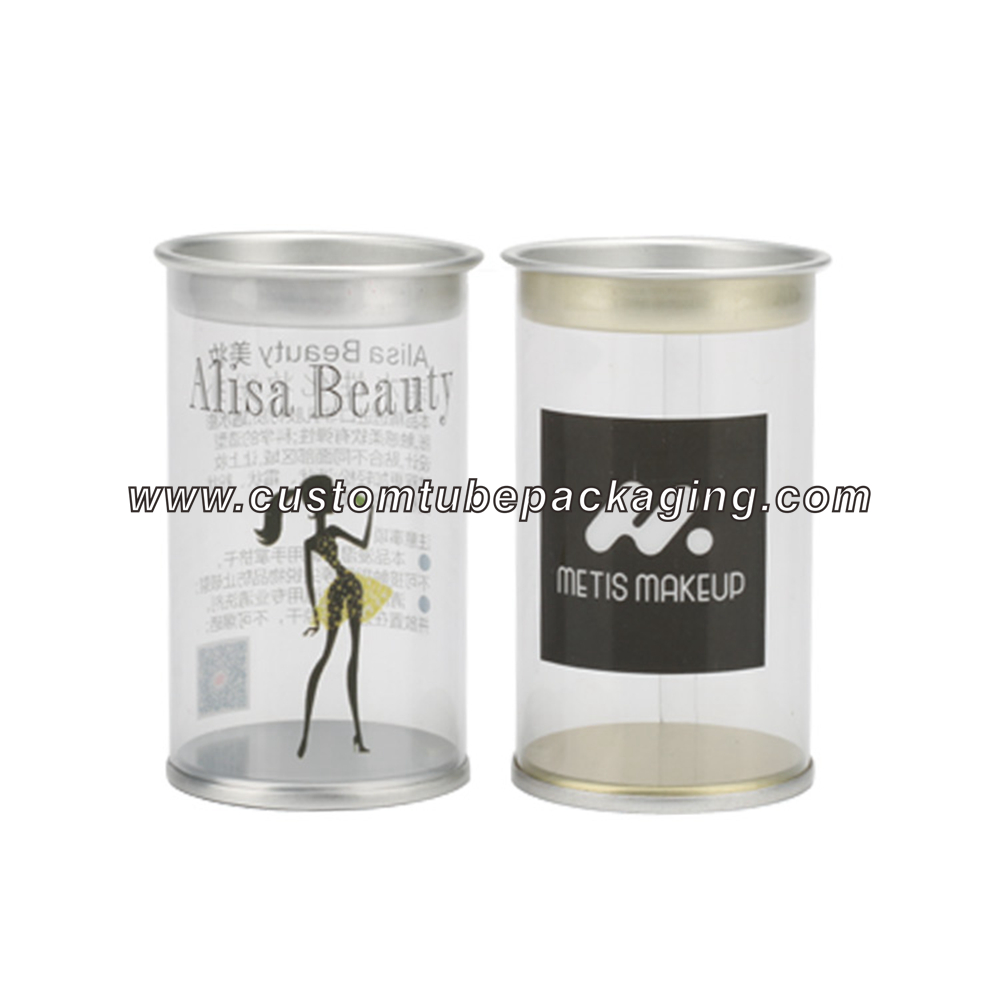 Clear plastic tube containers with lids